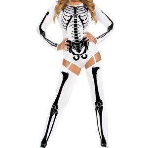 Halloween skeleton Bad to the Bone Costume white